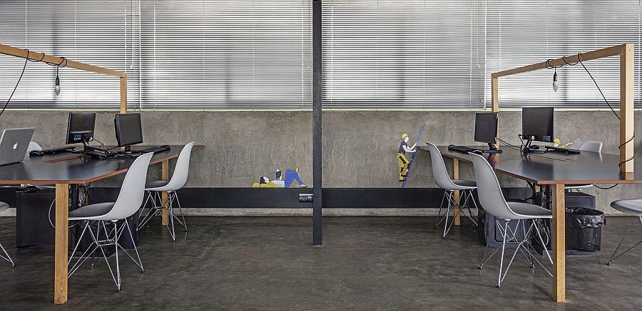 طراحی داخلی دفتر مدرن صنعتی استودیو M9
