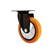 چرخ پایه مشکی کفی گردان نارنجی