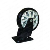 چرخ پایه مشکی کفی گردان رینگ نقرهای