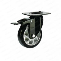 چرخ پایه مشکی ترمزدار رینگ نقرهای